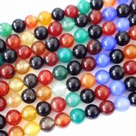 15 Inch Gemstone Agate 4mm Rainbow Round Beads